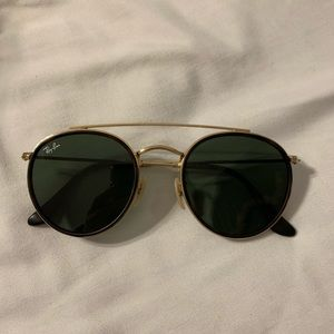 Ray ban round double bridge gold